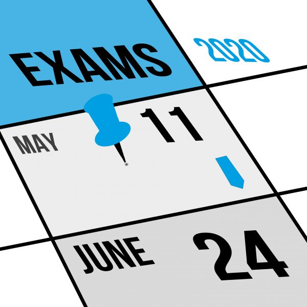 Exams pin on calendar