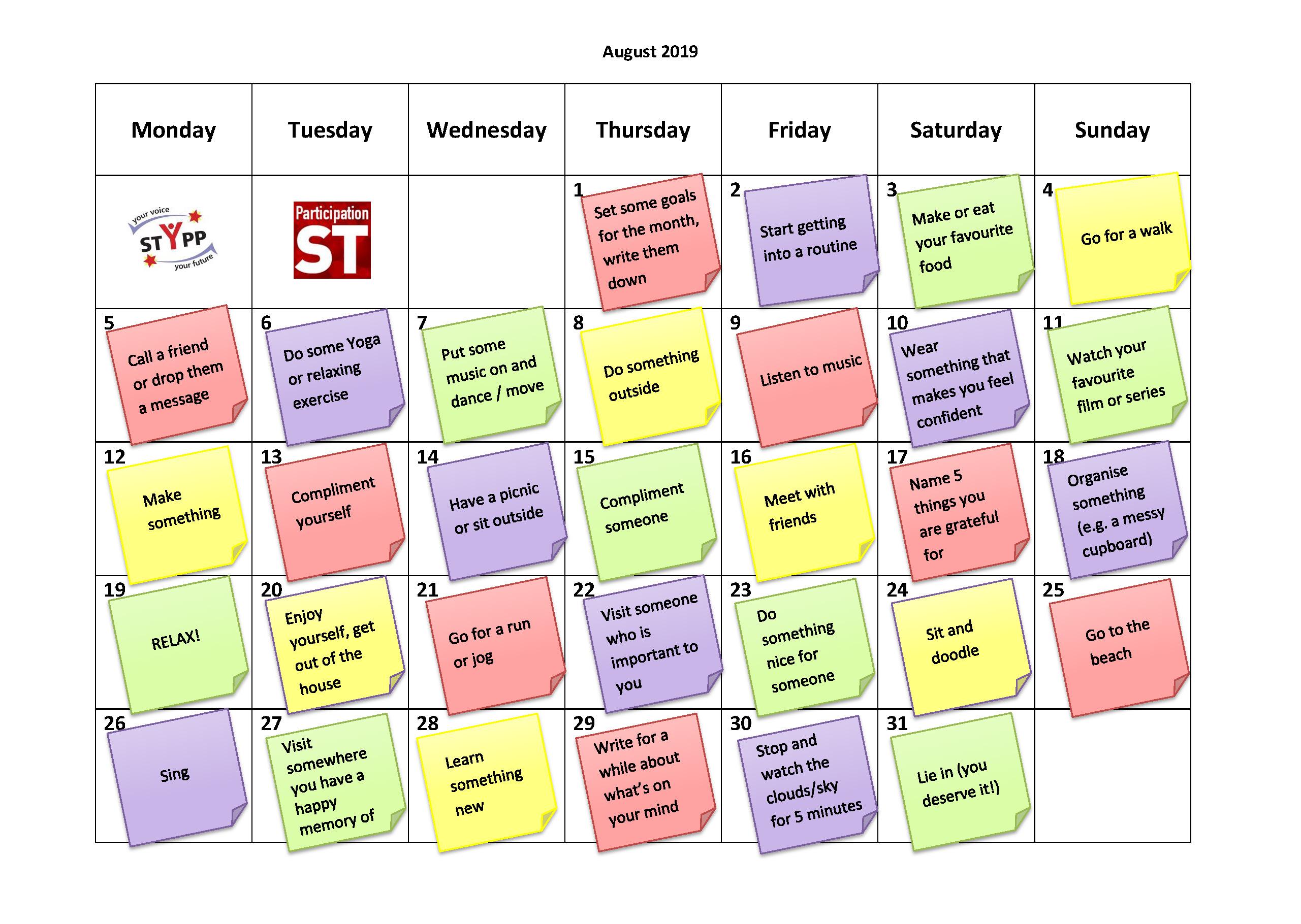 August student mindfulness calendar