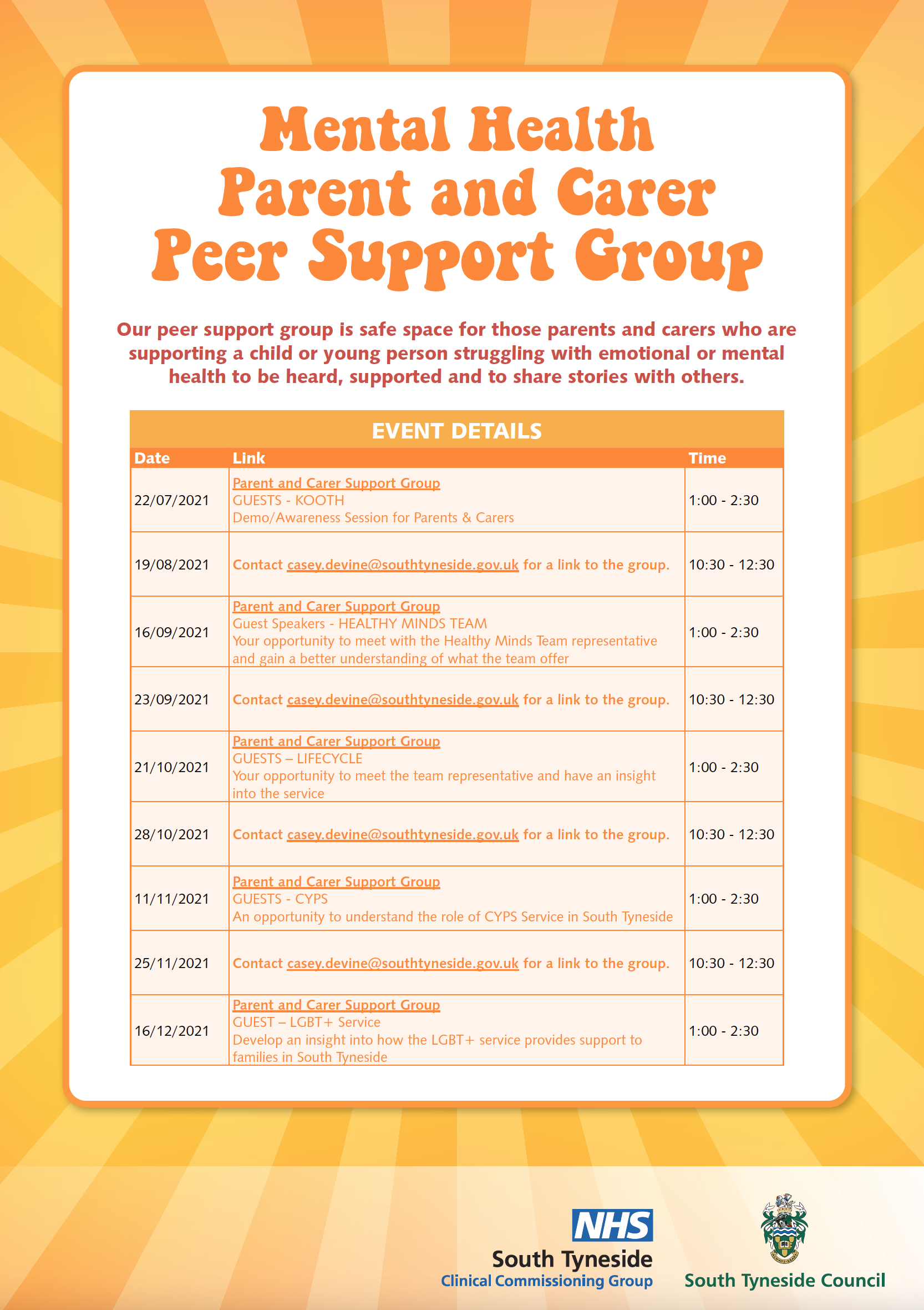 Mental Health - Parent and Carer Peer Support Group