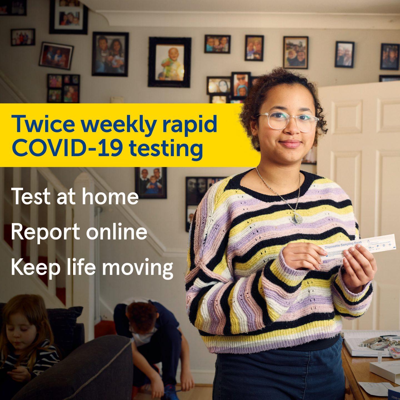 Twice weekly rapid COVID-19 testing Girl