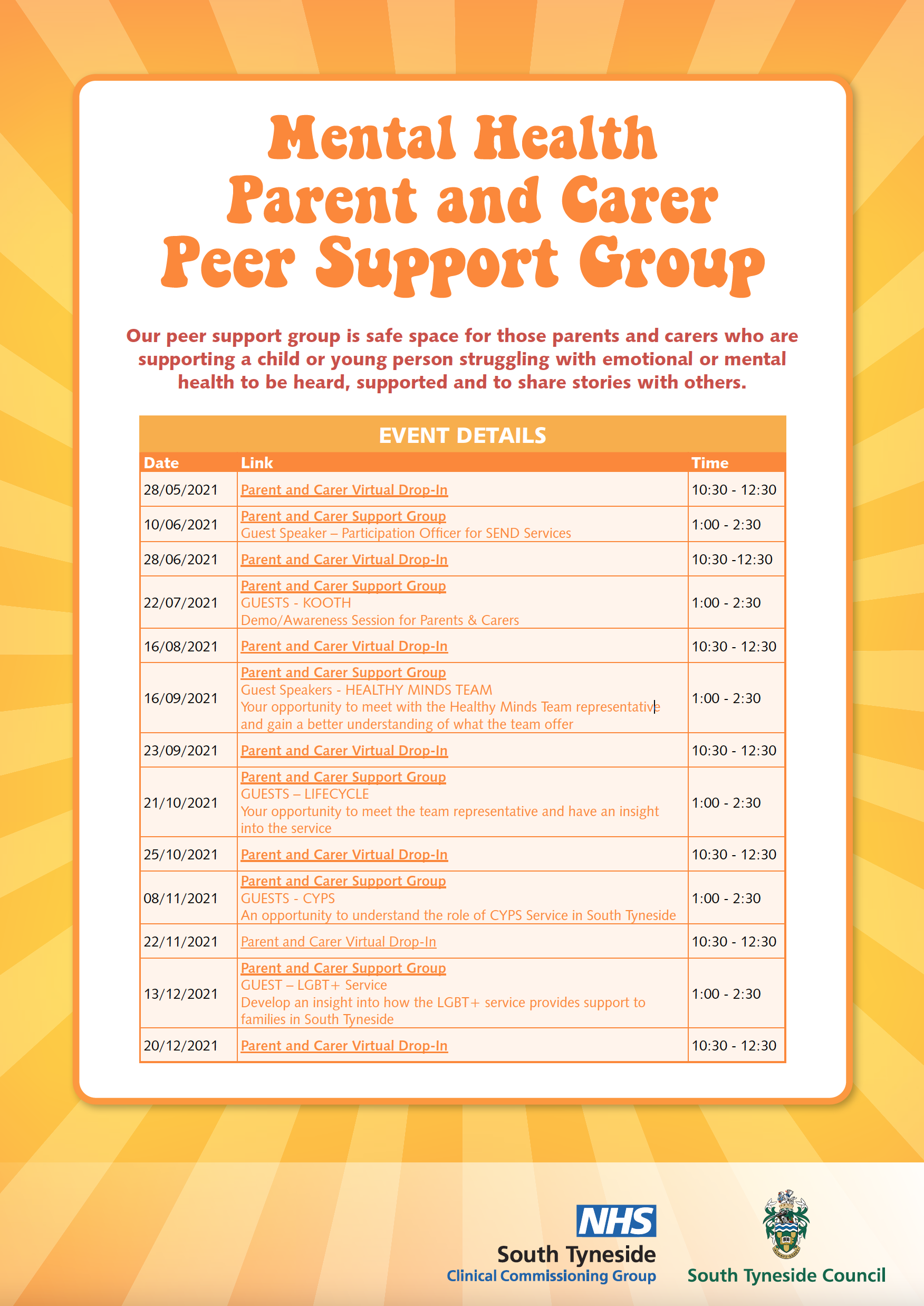 Peer Network Session Flyer YEAR