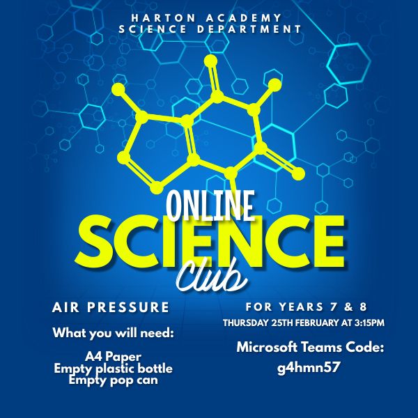 Science club - 25th Feb 3.15pm